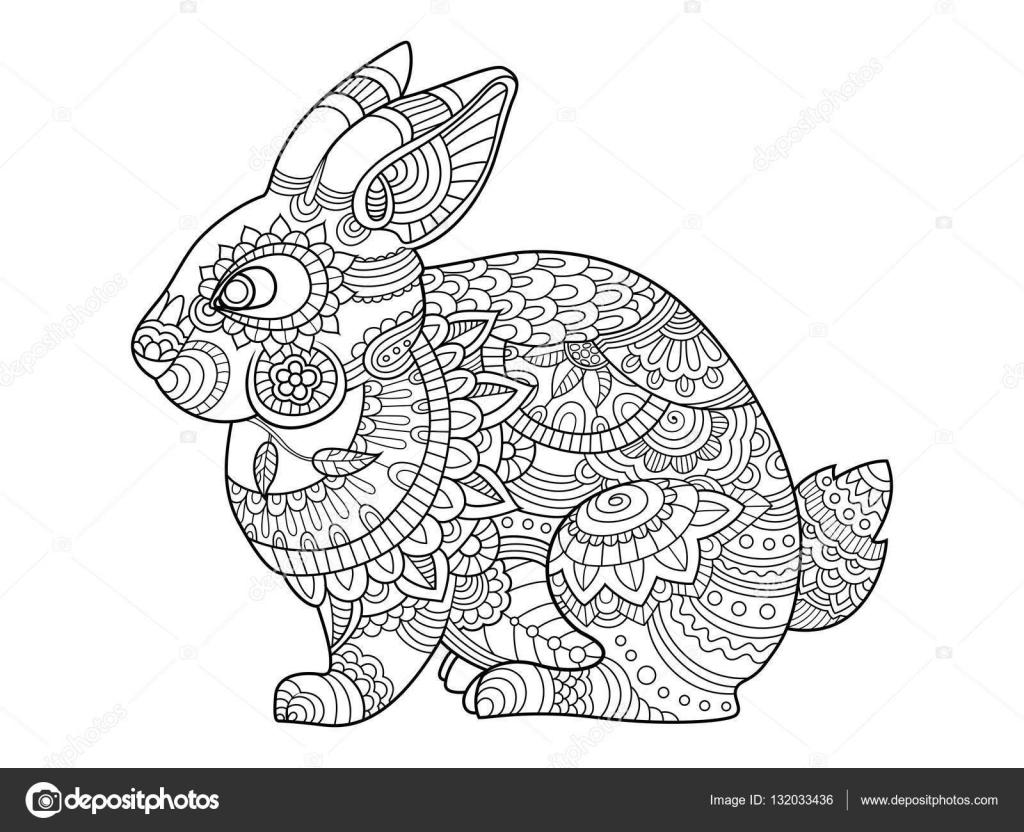 konijn konijn coloring boek voor volwassenen vector