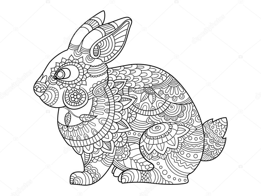 kaninchen hase malbuch für erwachsene vektor — stockvektor