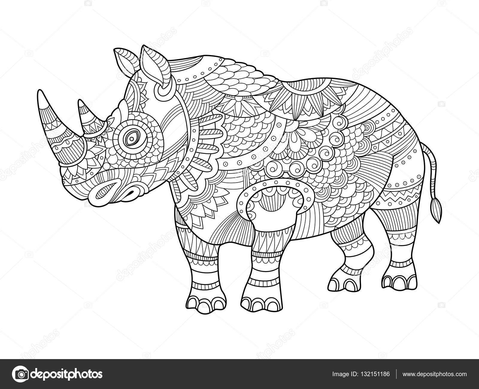 Coloriage En Ligne Rhinoceros.Rhinoceros Coloriages Pour Vecteur Adultes Image