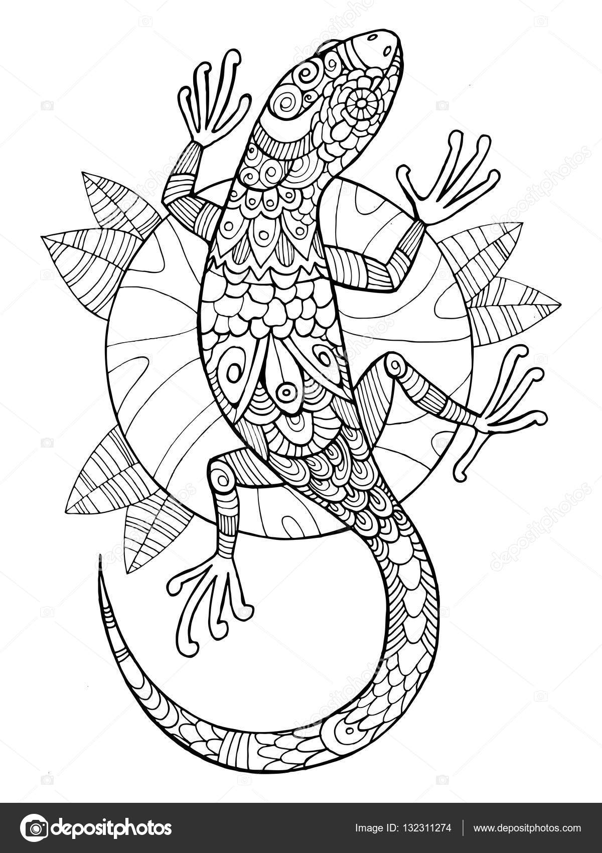 lizard coloring book for adults vector stock vector