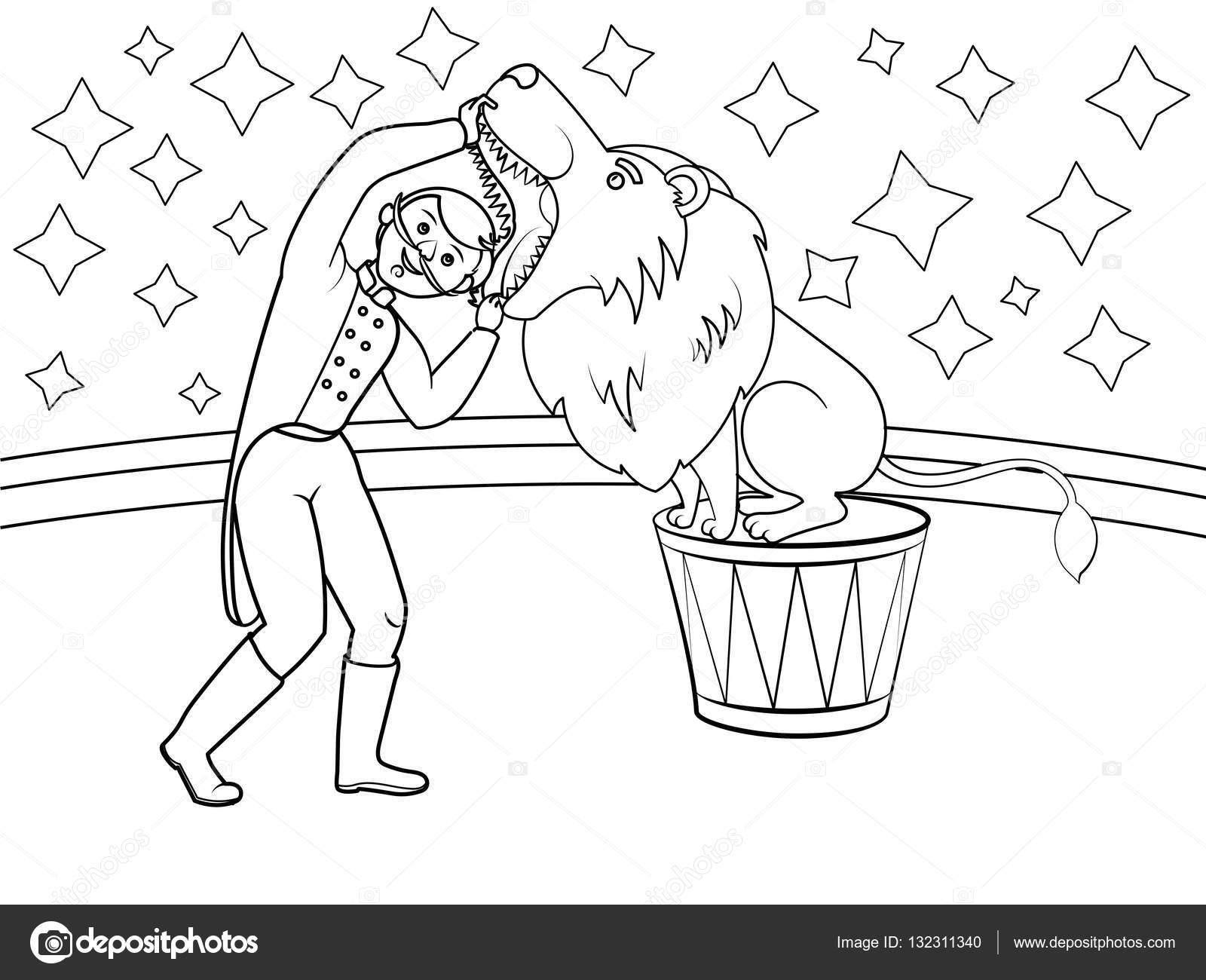 Entrenador de animales de circo pone su cabeza en la boca de León ...