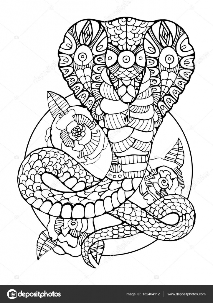 Serpent Cobra Coloriages pour vecteur adultes — Image vectorielle