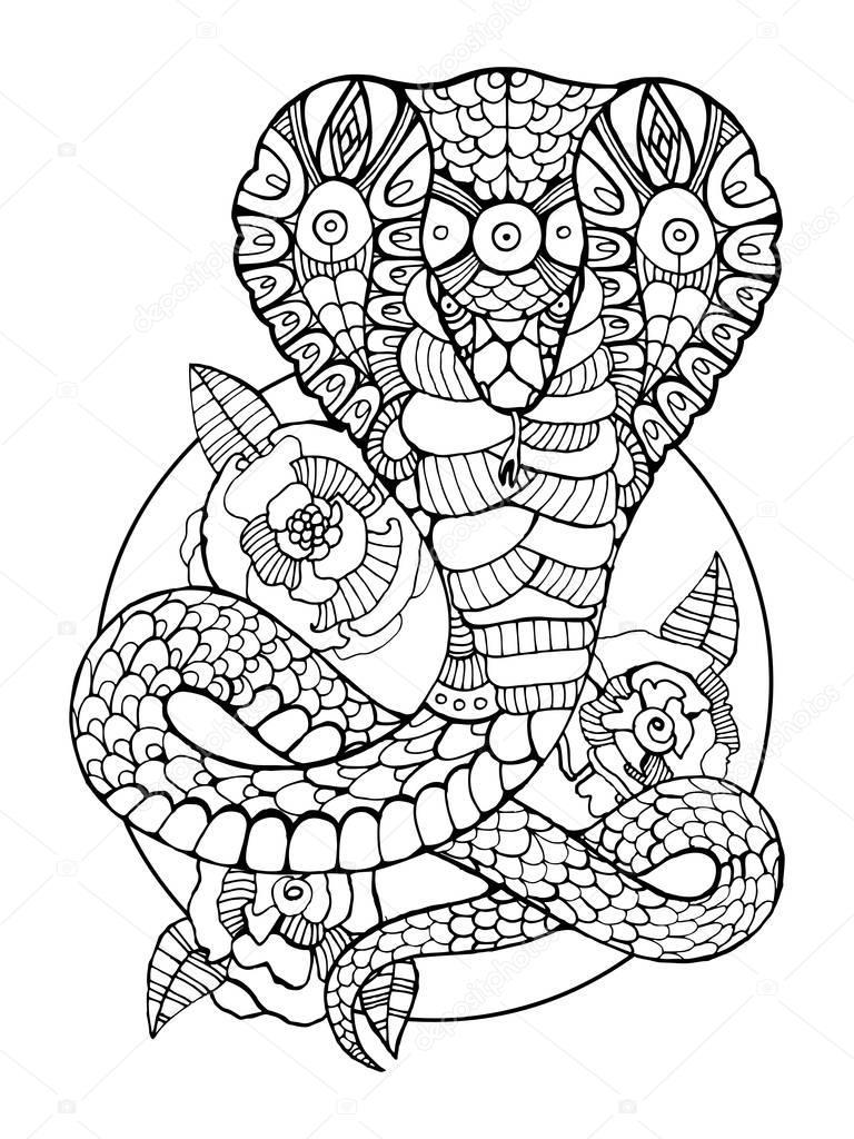 Serpent Cobra Coloriages pour vecteur adultes — Image ...