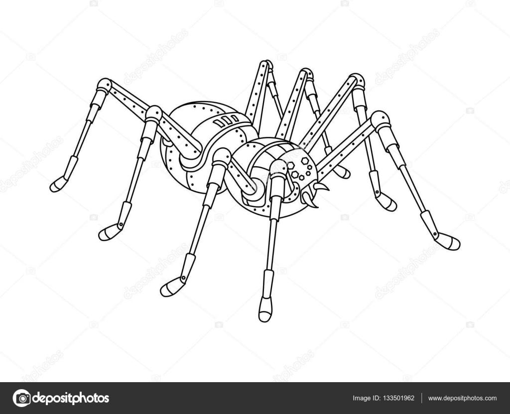 Steampunk Tarzı örümcek Kitap Vektör Boyama Stok Vektör