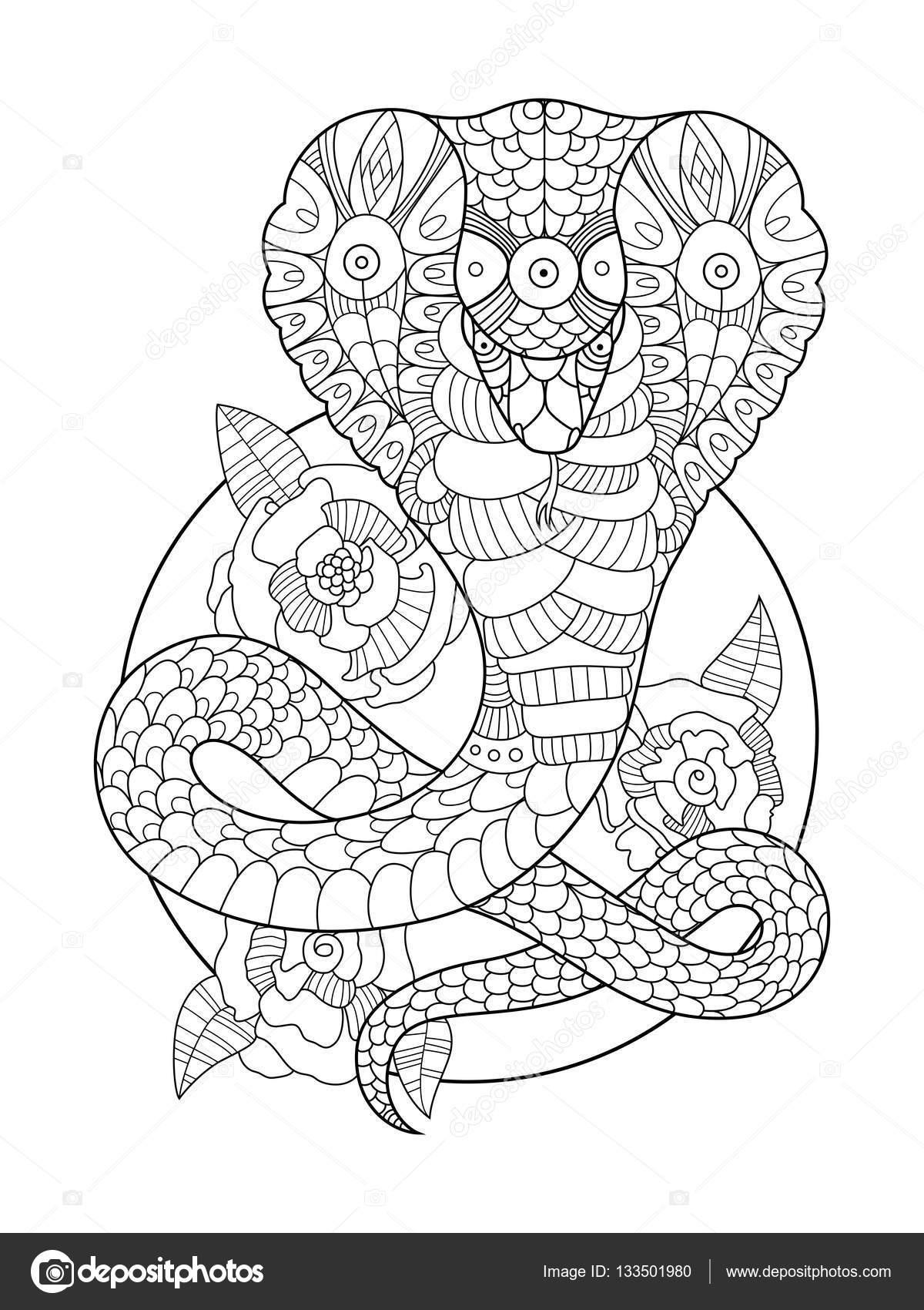 cobra slang coloring boek voor volwassenen vector