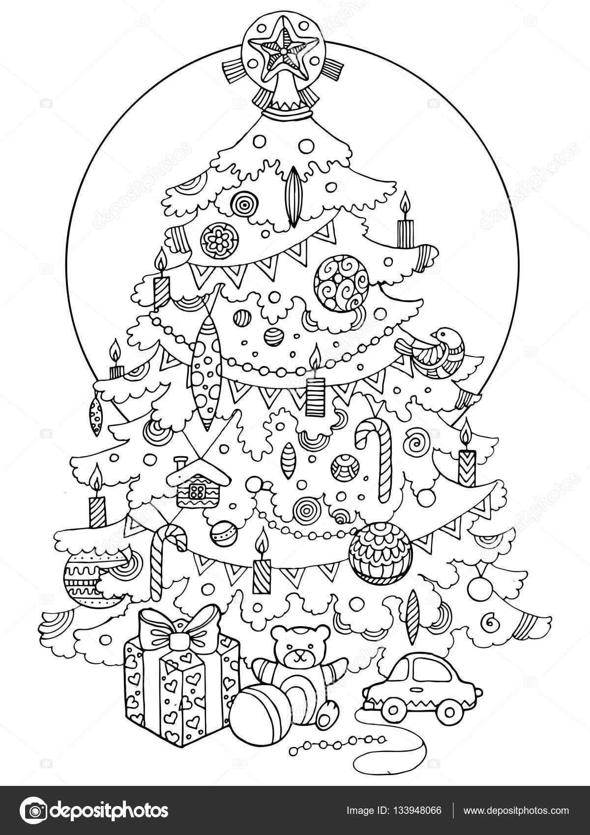 Árbol de Navidad dibujos animados para colorear vector libro ...