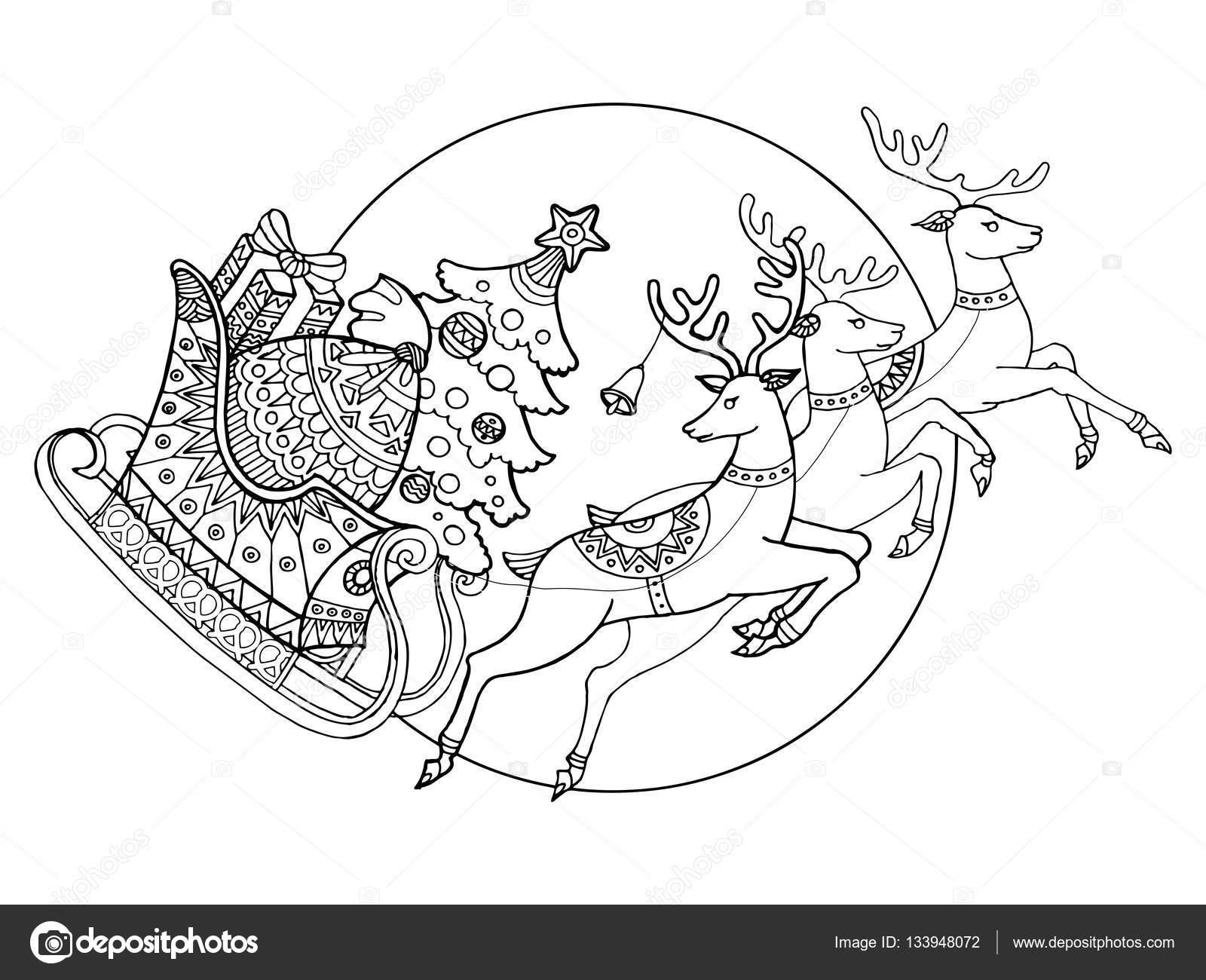 Trineo de Navidad con renos para colorear vector — Vector de stock ...