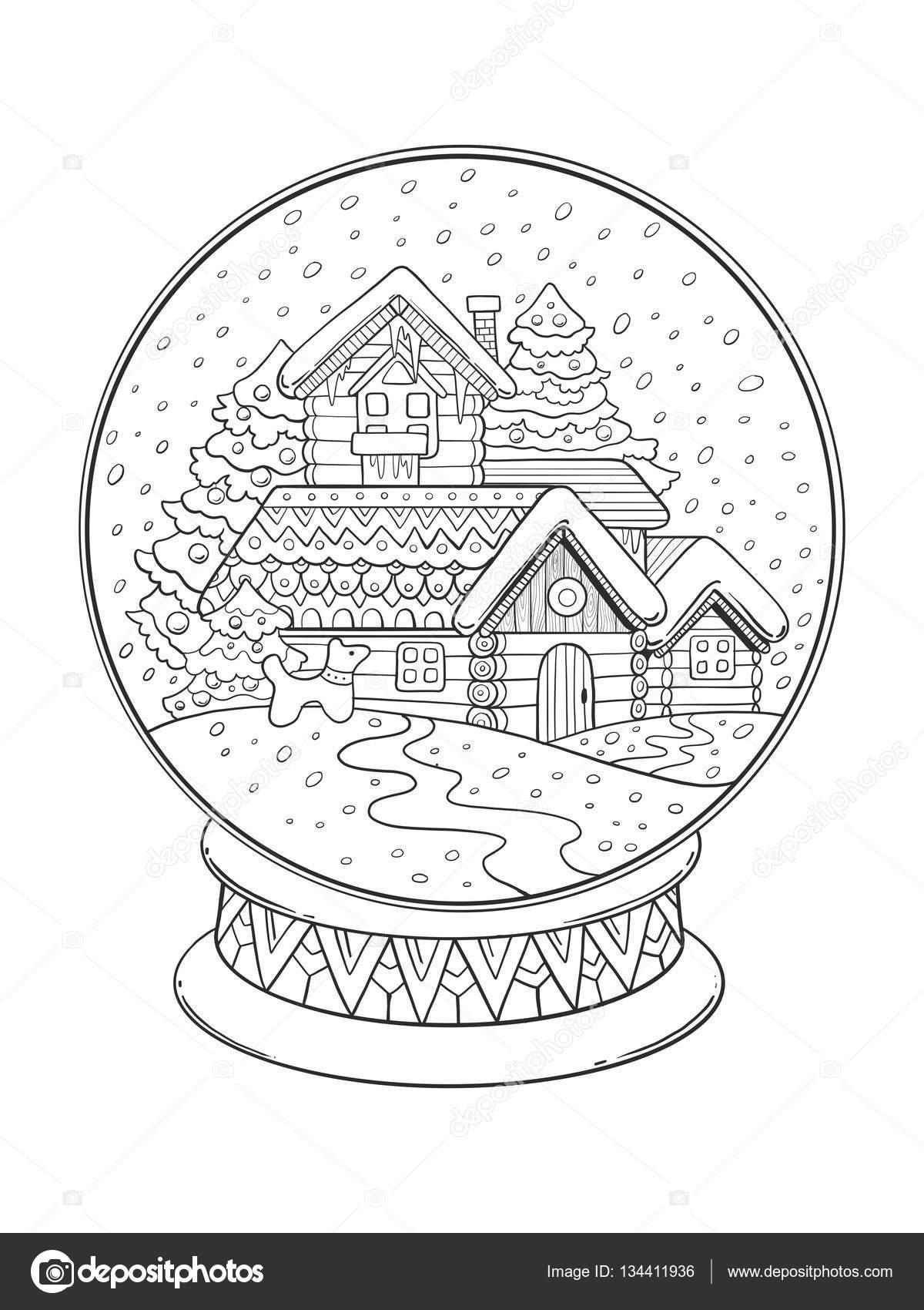 Vector de Navidad cristal esfera para colorear — Archivo Imágenes ...