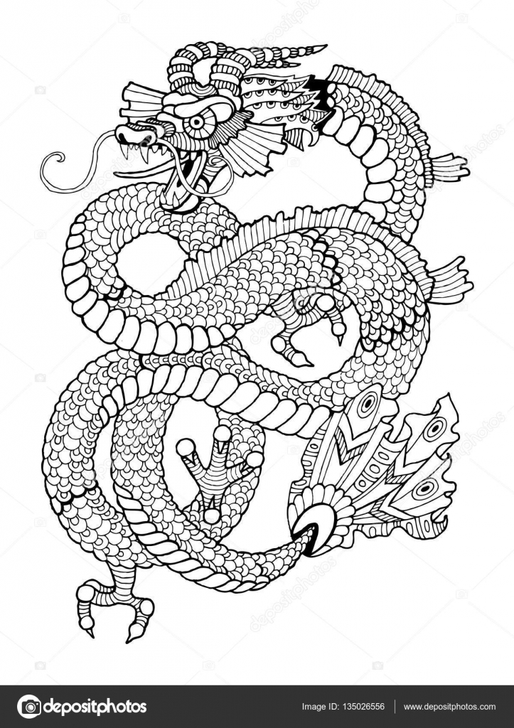 Dragon coloring book for adults vector — Stock Vector ...