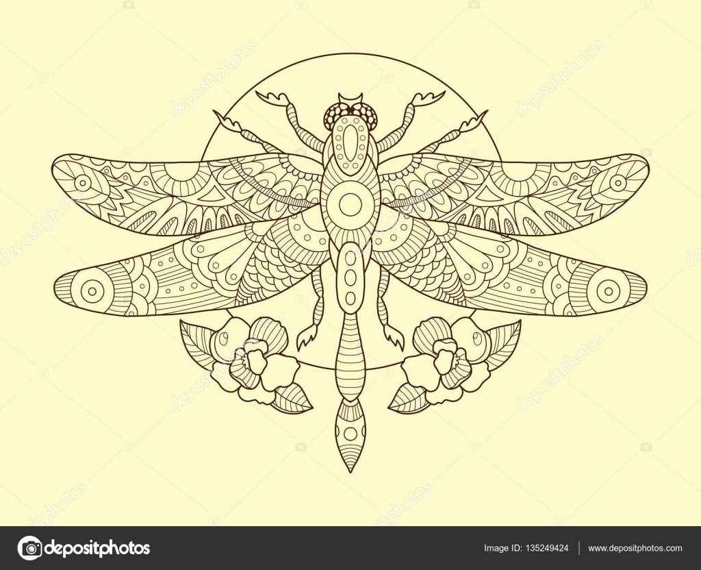Dragonfly Color Drawing Vector Illustration Stock Vector