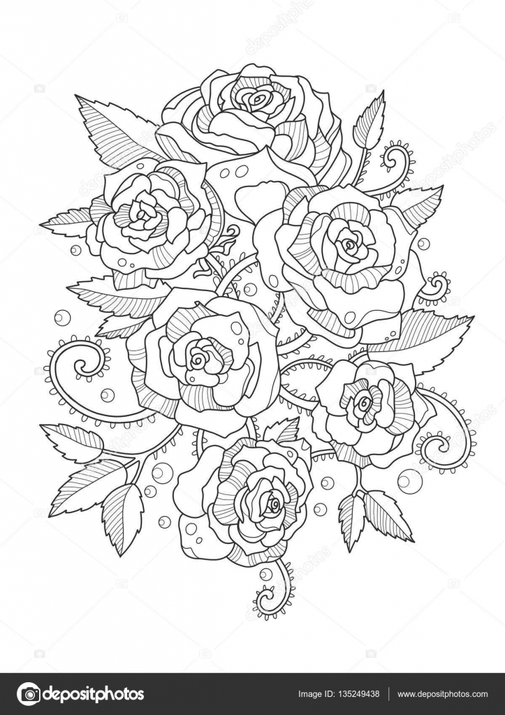 Rosas para colorear libro de vectores adultos — Vector de stock ...