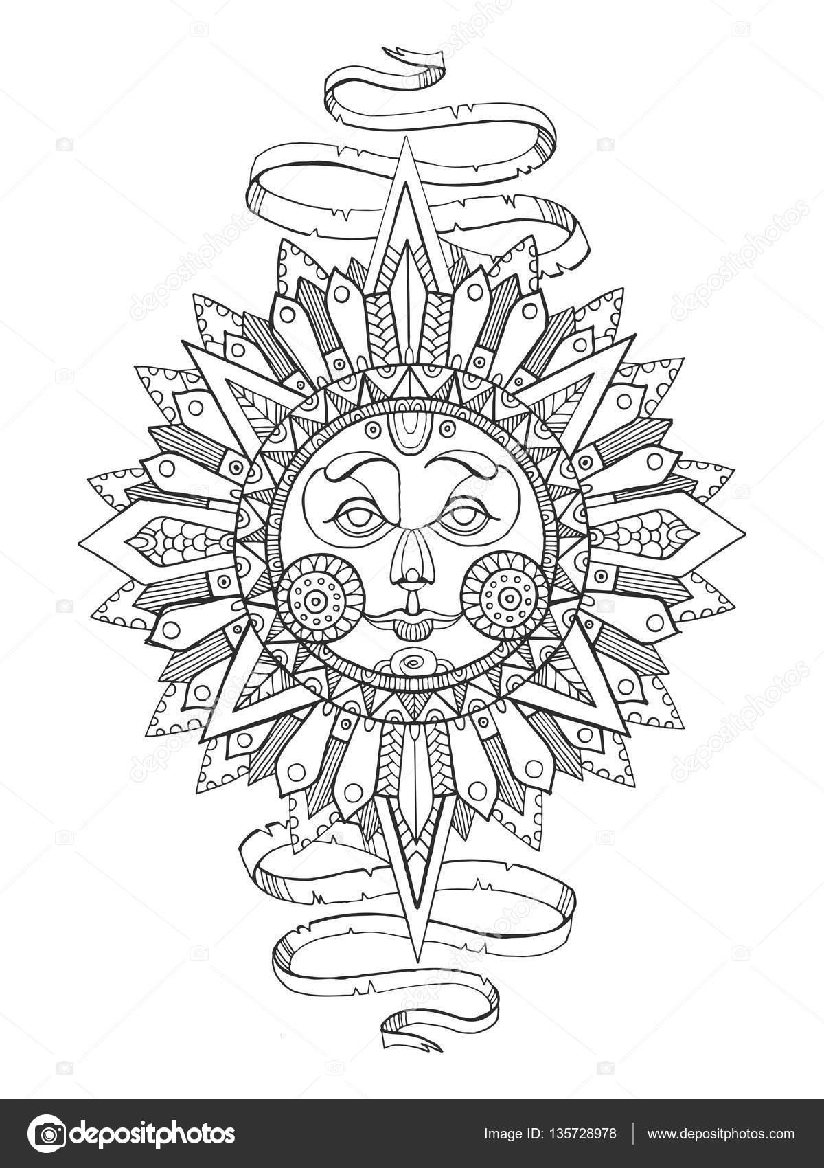 Coloriage Adulte Soleil.Soleil Avec Visage Livre De Coloriage De Dessin Pour Adultes Image