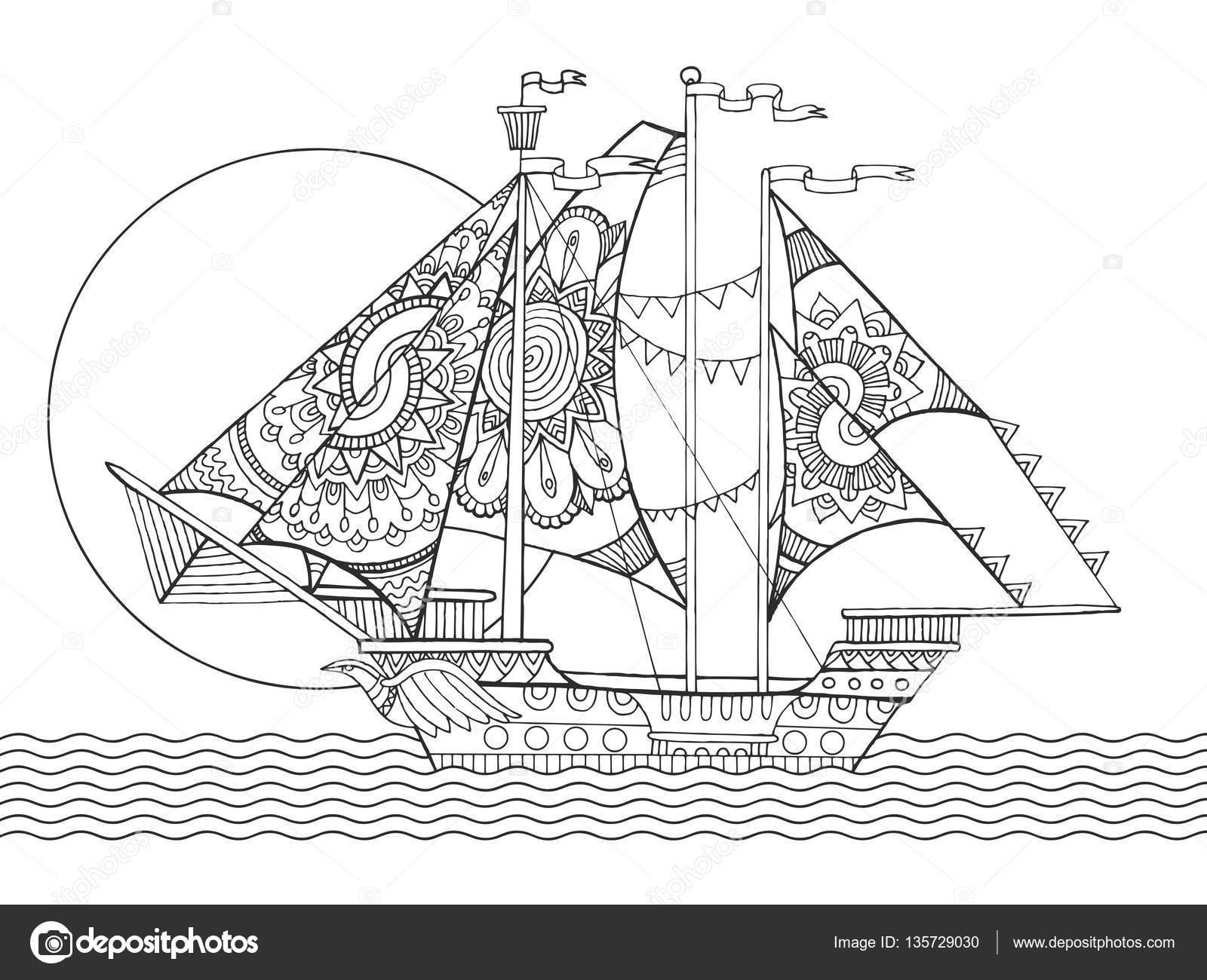 Yelken Gemi çizim Boyama Kitap Vektör Stok Vektör