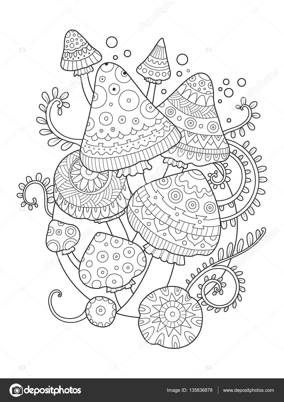 Kleurplaten Voor Volwassenen Tattoo.Paddestoel Vector Tekening Boek Kleurplaten Voor Volwassenen