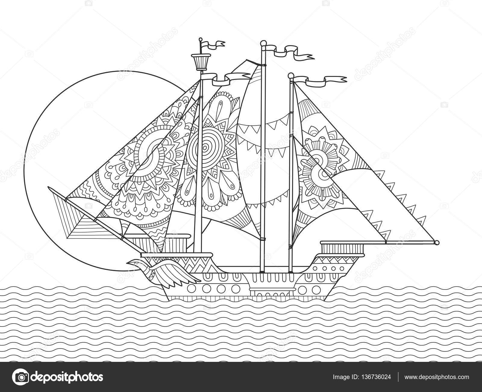 Libro de vela barco dibujo para colorear vector — Archivo Imágenes ...