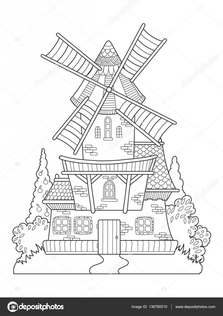Vector de molino de viento, libro para colorear de dibujo para ...