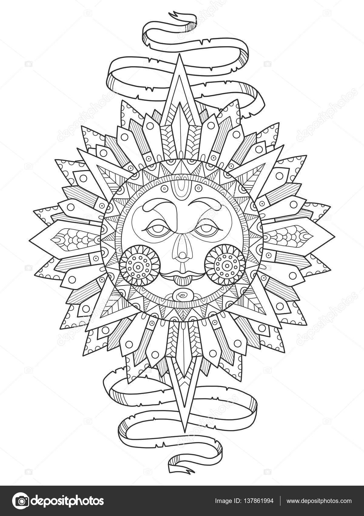 Yüz Boyama Kitabı Ile Güneş Illüstrasyon Vektör Stok Vektör