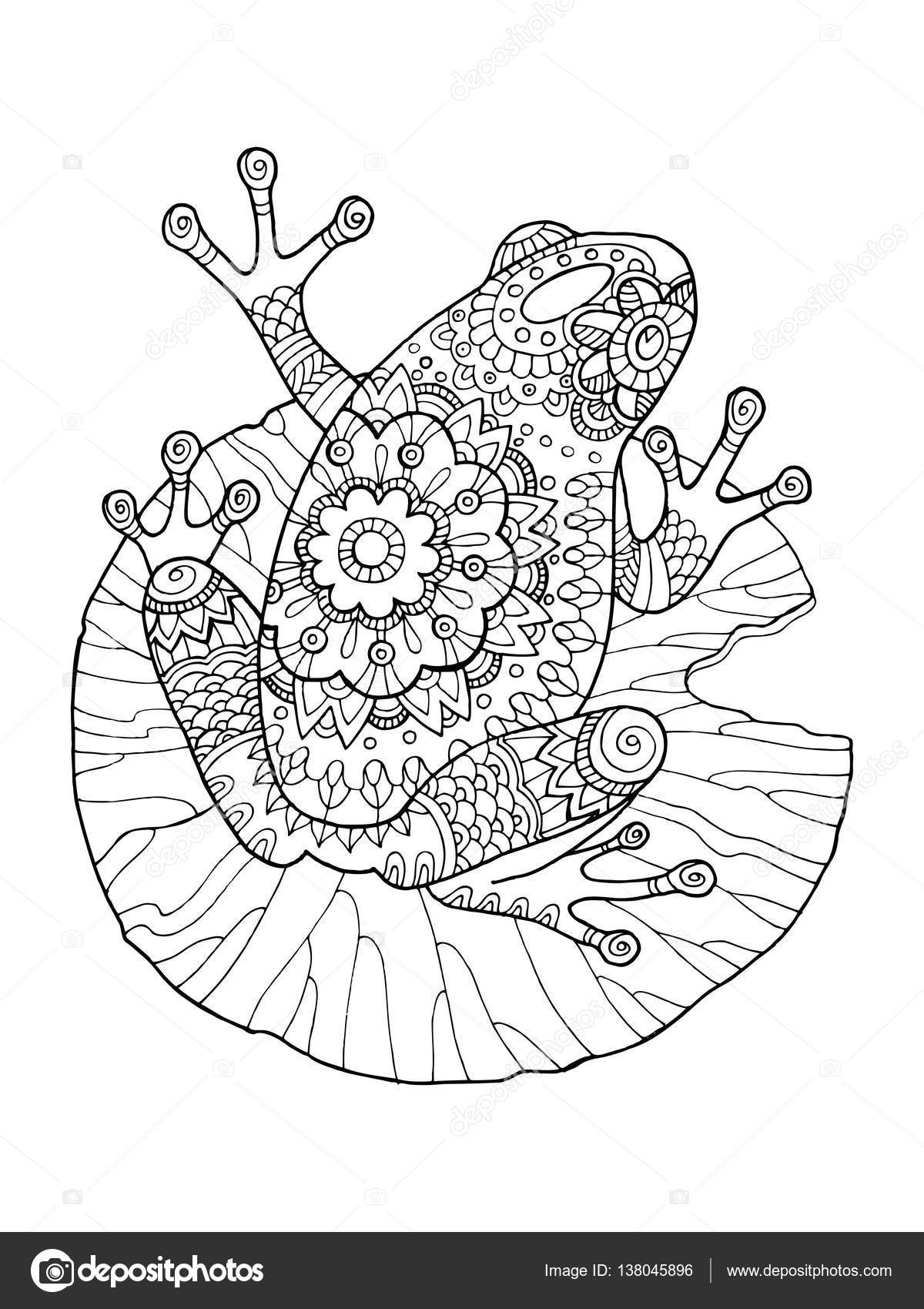 Grenouille illustration vectorielle livre à colorier — Image ...
