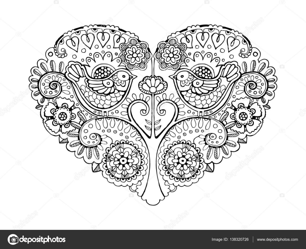 Kitap Vektör Illustration Boyama Kalp Tasarımı Stok Vektör
