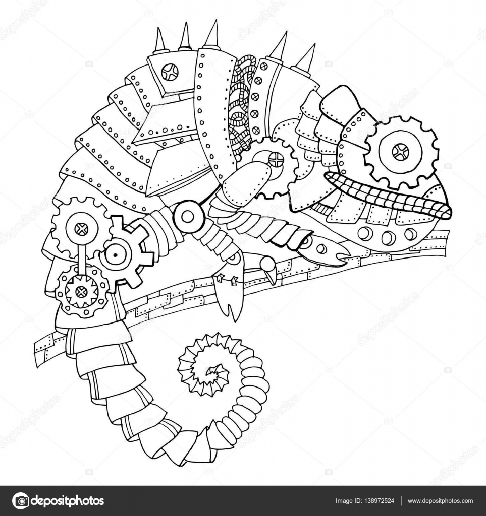 Steampunk Style Chameleon Coloring Book Vector Stock