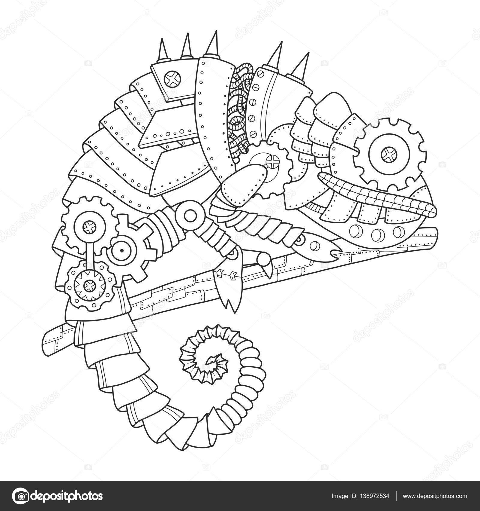 Camaleón de estilo Steampunk para colorear vector libro — Vector de ...