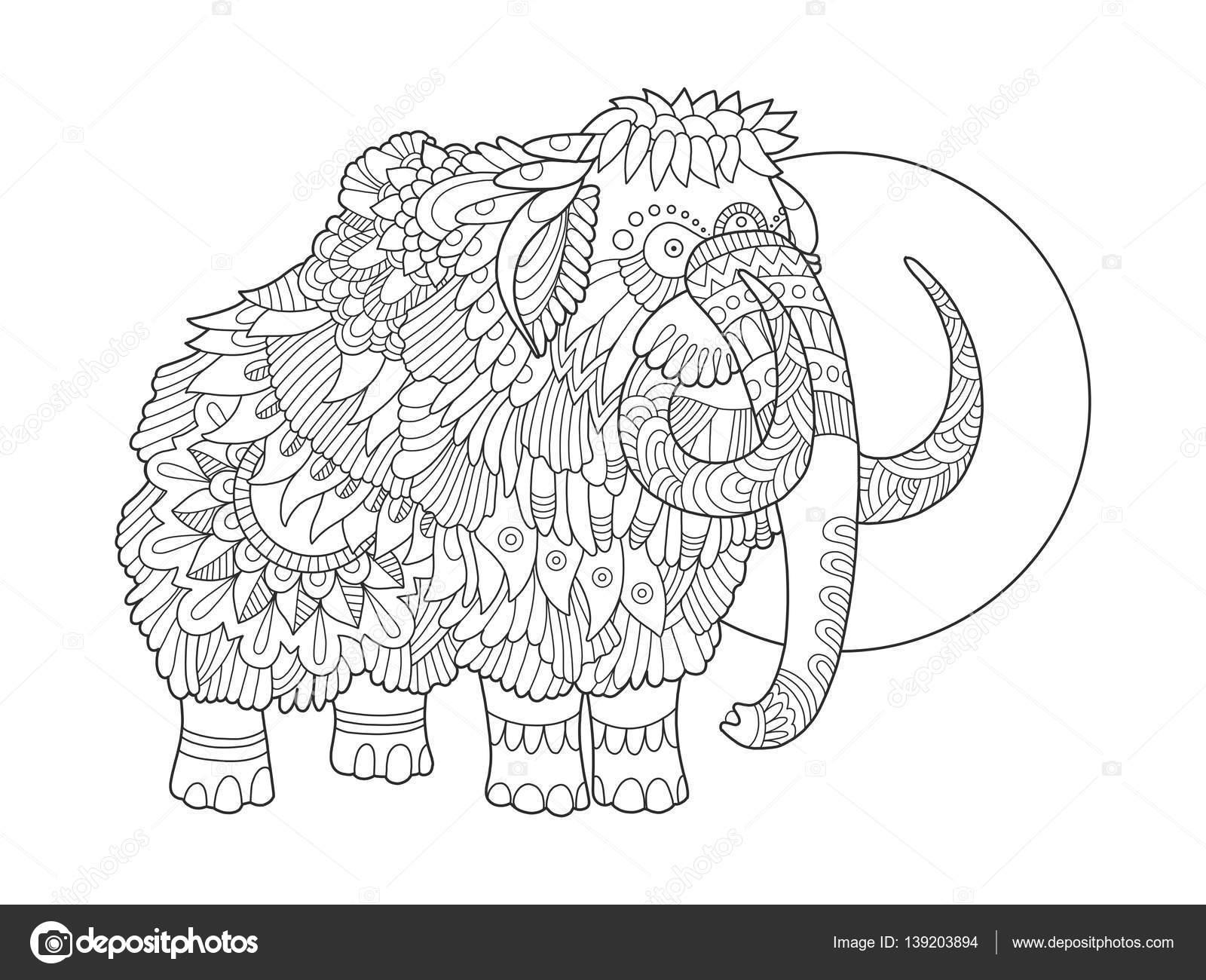 Dibujo Mamut Colorear Mamut Para Colorear Ilustración Vectorial