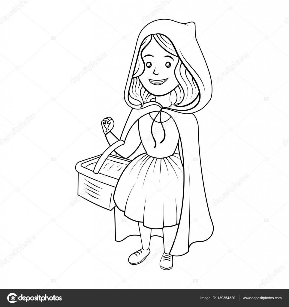 Küçük Kırmızı Başlıklı Kız Kitap Vektör Boyama Stok Vektör