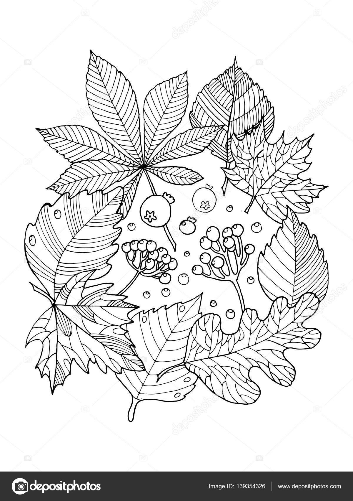 Kitap Vektör Illustration Boyama Ağaç Yaprak Stok Vektör