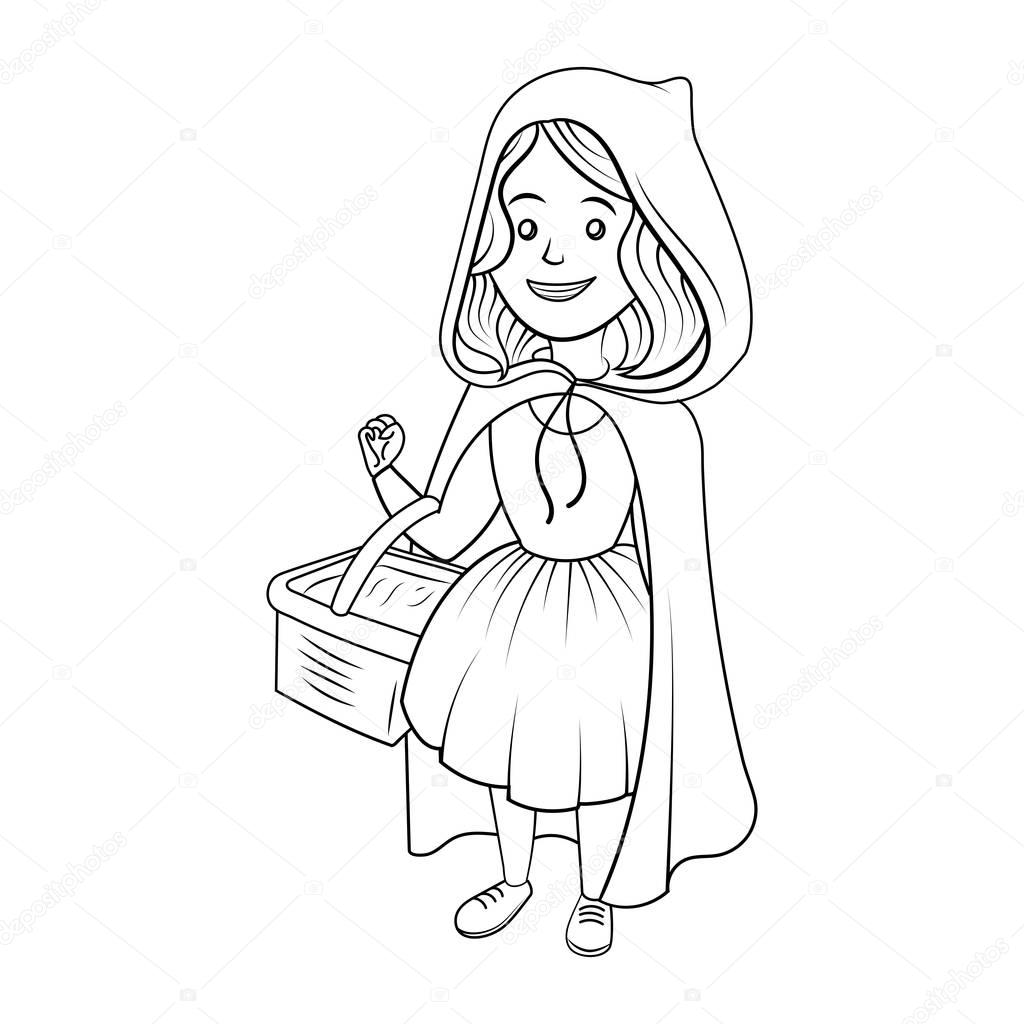 Little Red Riding Hood Coloring Book Vector Stock Vector
