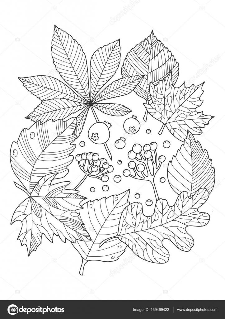Árbol de hojas para colorear ilustración vectorial del libro ...
