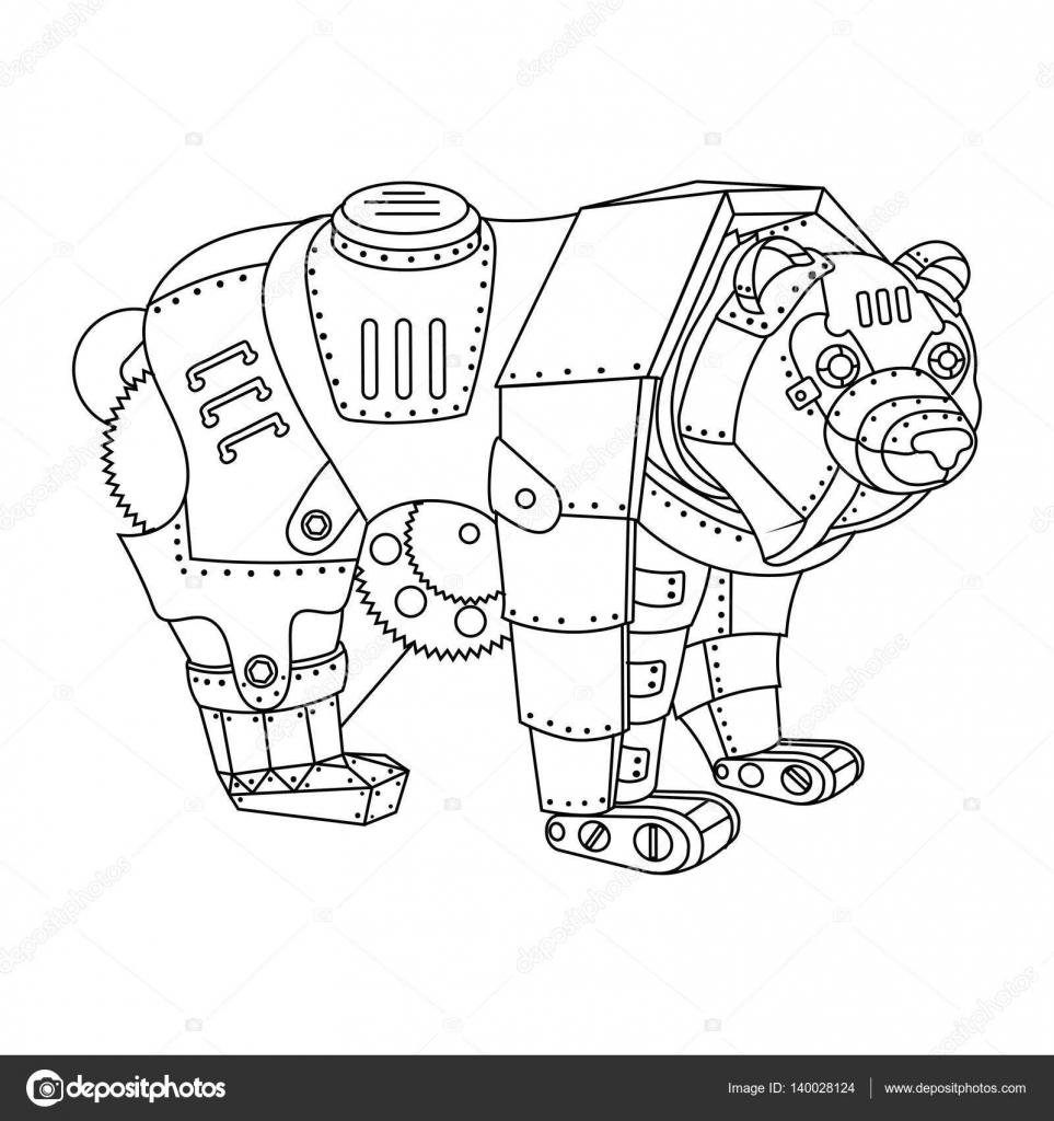 urso de estilo steampunk vetor de livro de colorir vetores de