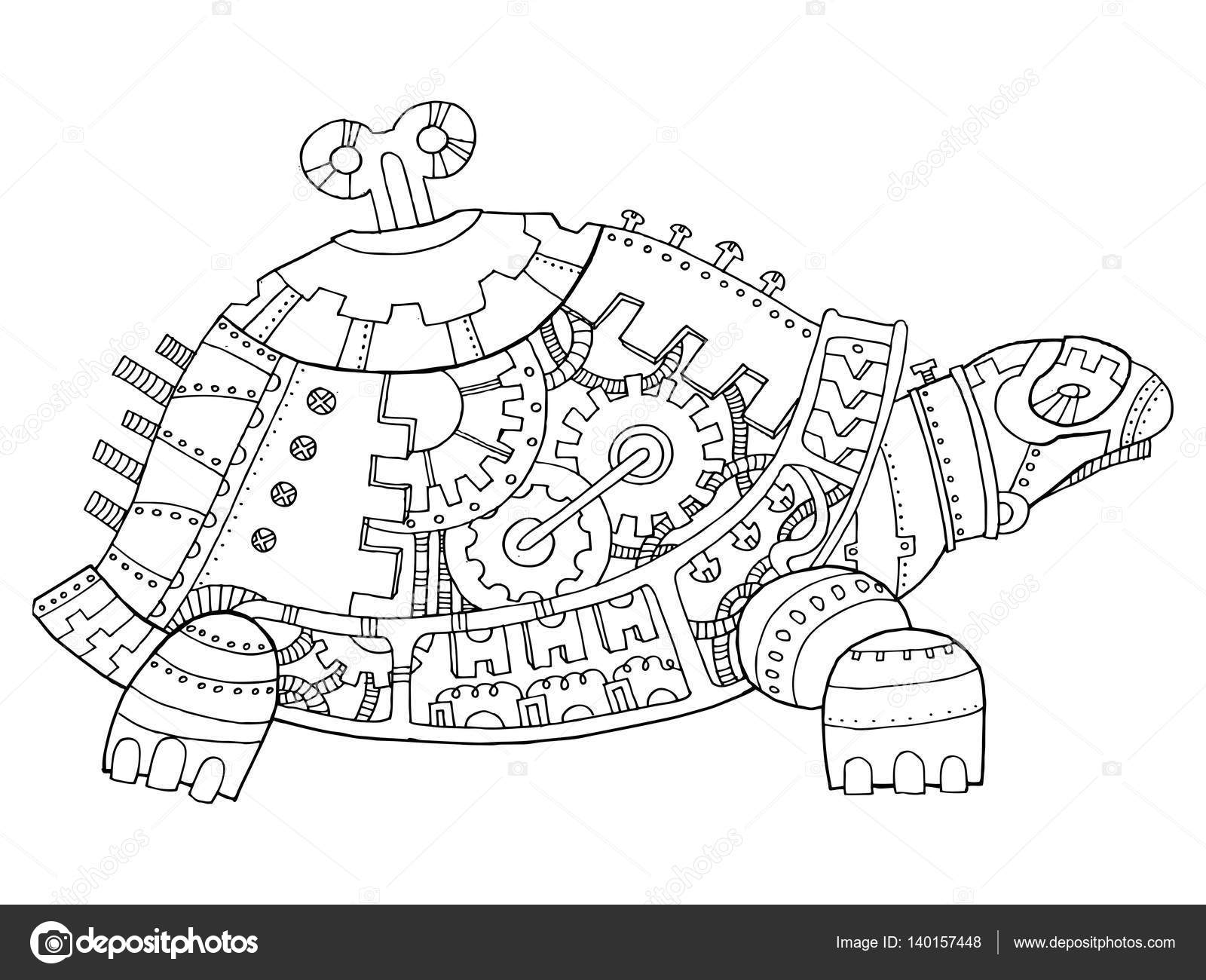 tartaruga de estilo steampunk vetor de livro de colorir vetor de