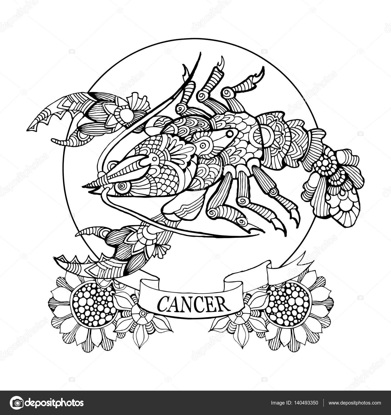 Mandala Sterrenbeelden Kleurplaten.Kanker Sterrenbeeld Boek Voor Volwassenen Vector Kleurplaten