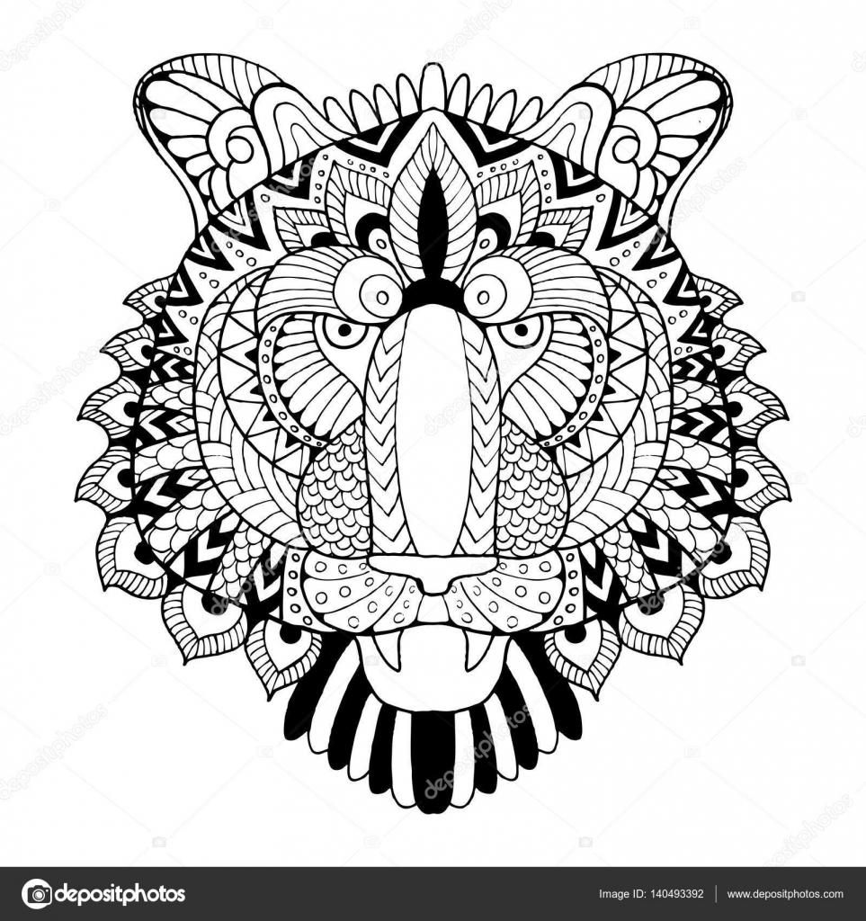 tiger coloring book vector illustration stock vector