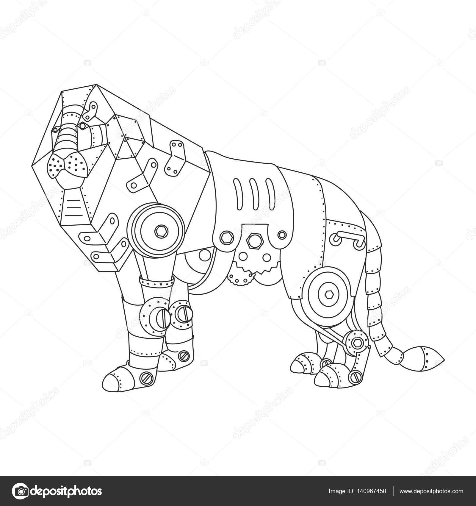 León de estilo Steampunk para colorear vector libro — Vector de ...