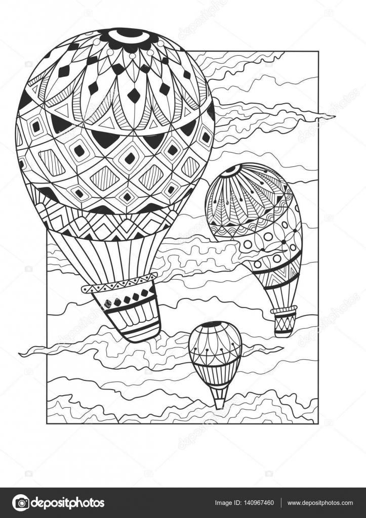 Aeronautic Ballon Färbung Buch Vektor — Stockvektor ...
