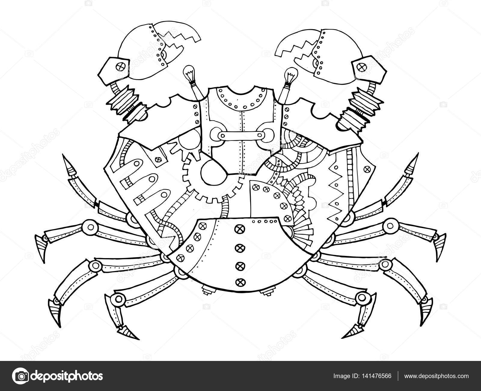 ste unk style crab coloring book vector stock vector  ste unk style crab coloring book vector stock vector