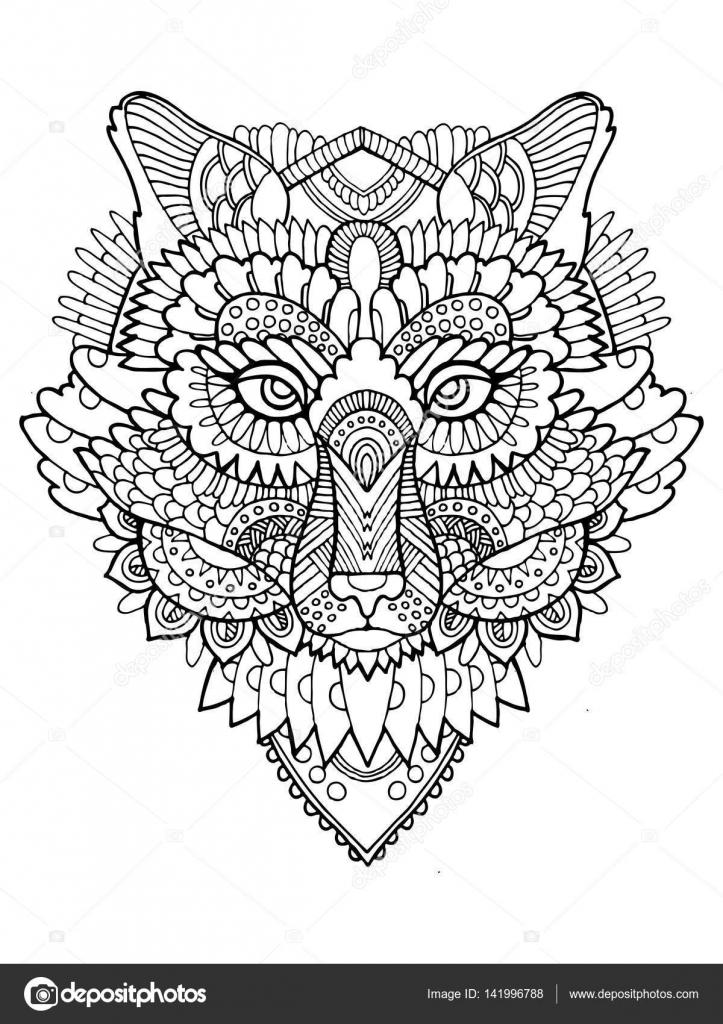 Libro de colorear zorro vector ilustración — Archivo Imágenes ...