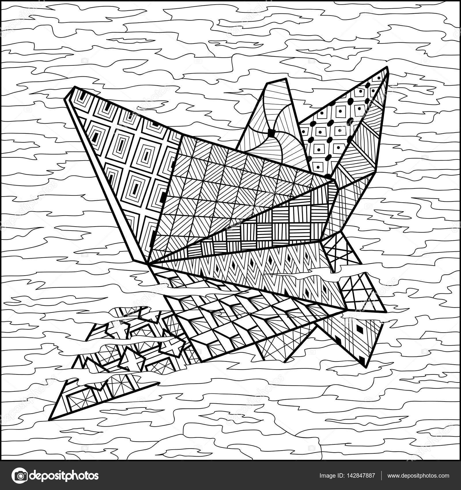 Kleurplaten Voor Volwassenen Boot.Papier Boot Op Water Kleuren Boek Vector Stockvector