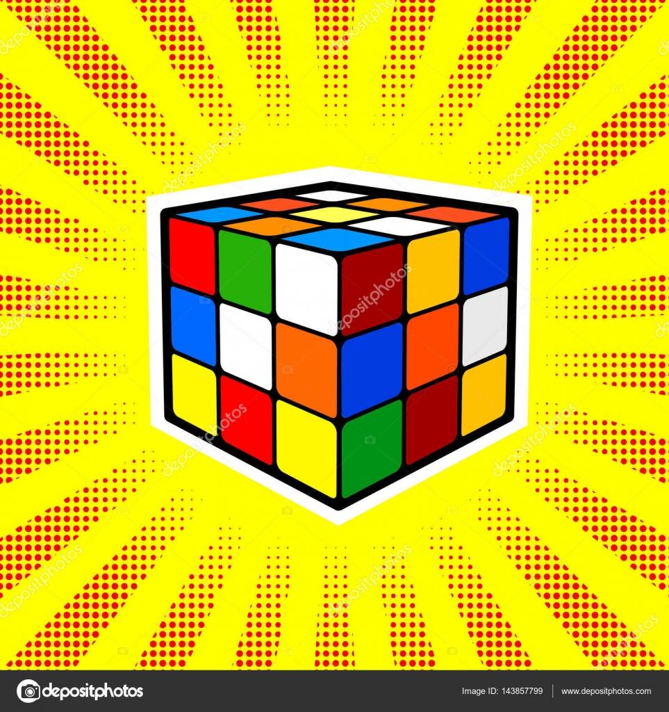 Rubik Cube Dessine Pop Art Style Rtro Vecteur Illustratoin Par AlexanderPokusay