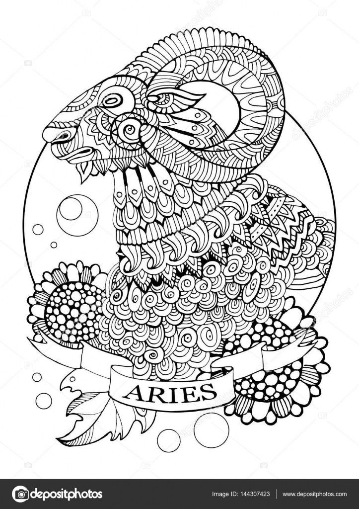 Tatuajes de horoscopos aries | Signo del zodiaco Aries vector libro ...