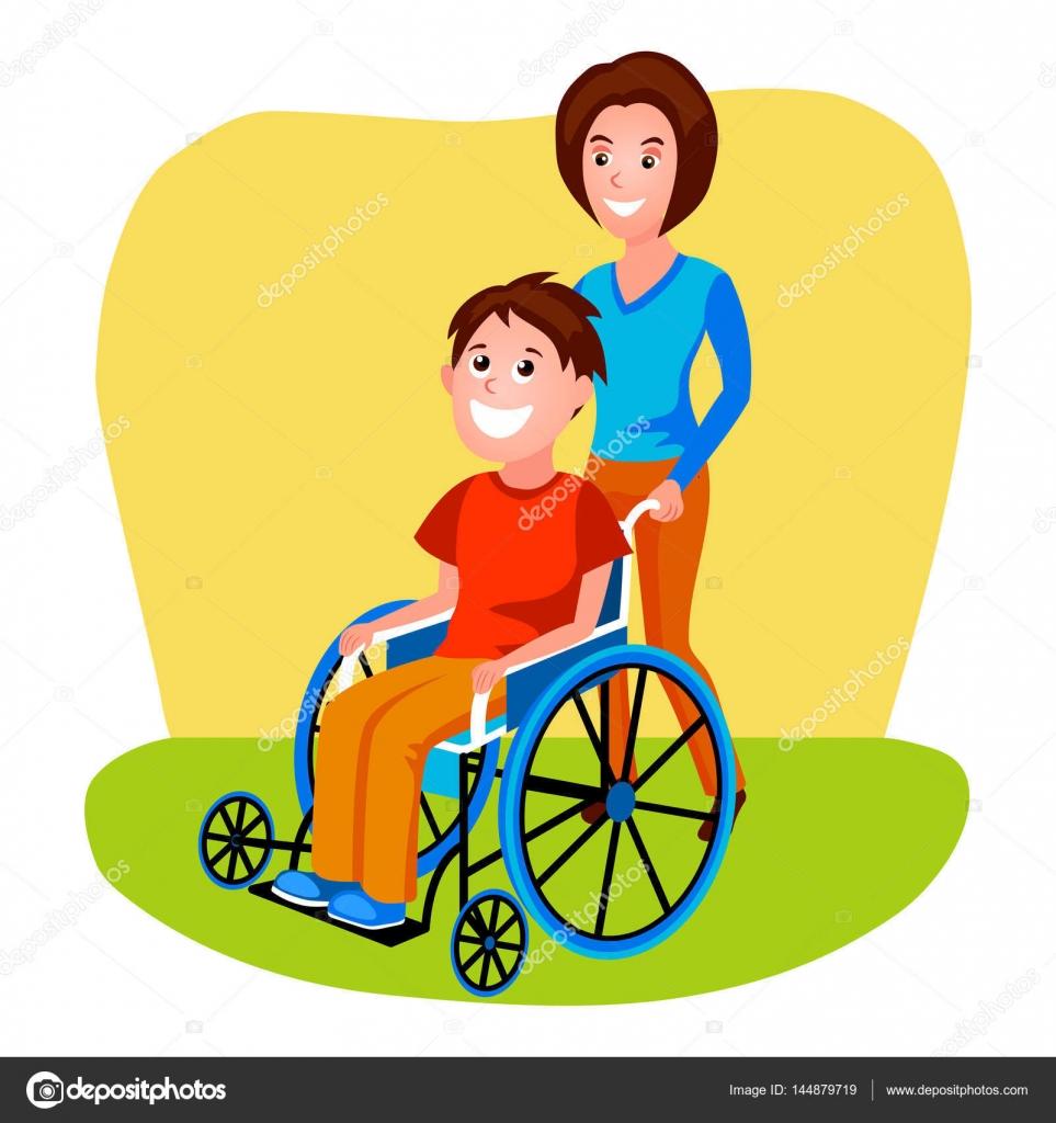 Mujer ayudando a discapacitados a persona en vector de silla de ruedas archivo im genes - Tamano silla de ruedas ...