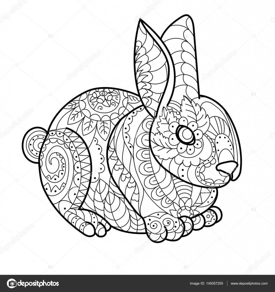 Tavşan Tavşan Boyama Kitabı Vektör çizim Stok Vektör