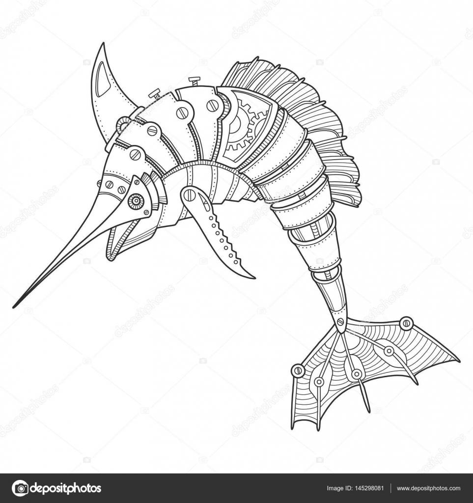 Steam punk style swordfish coloring book vector — Stock Vector ...