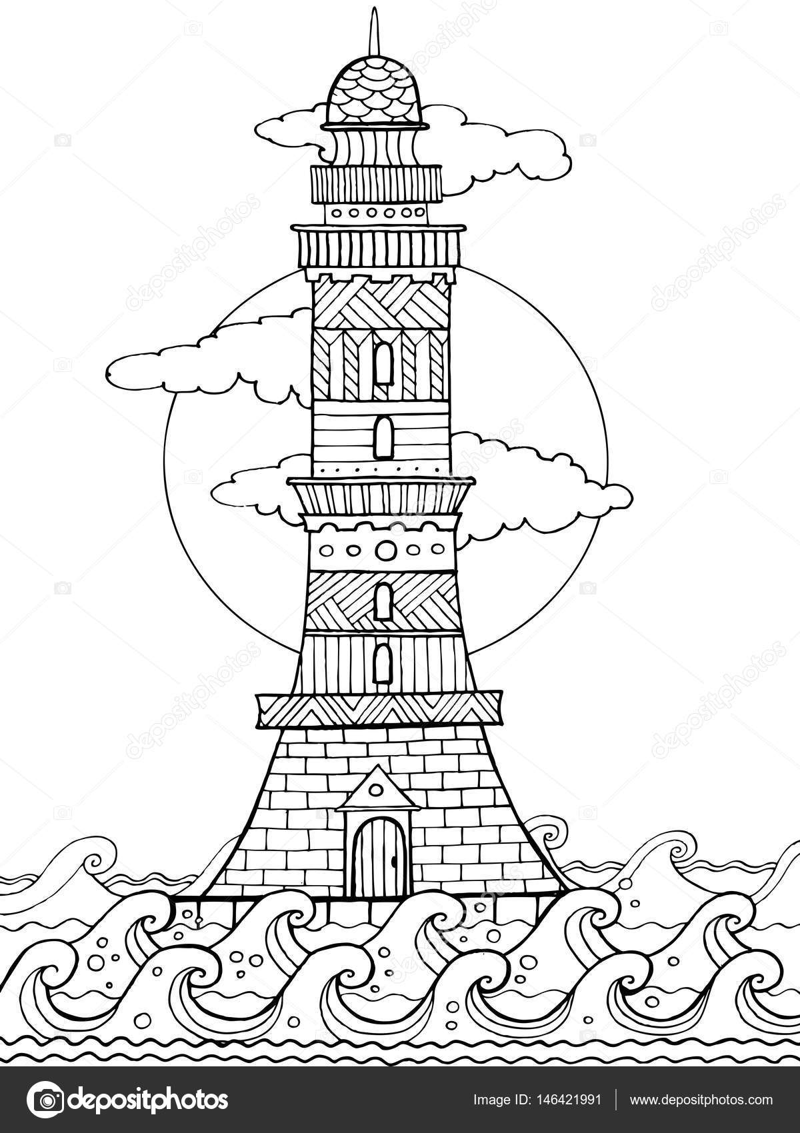 Faro para colorear ilustración vectorial del libro — Archivo ...
