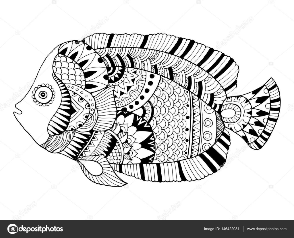 Angel Fish Coloring Book Vector Illustration Stock 146422031