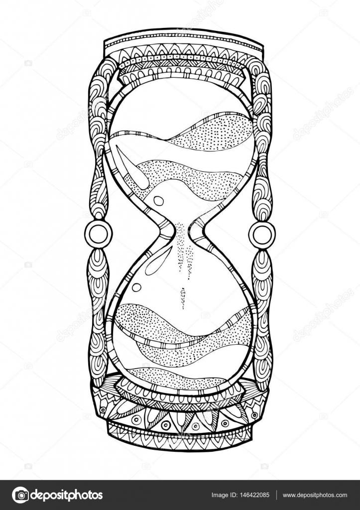 Reloj De Arena Para Colorear Ilustraci 243 N Vectorial Del