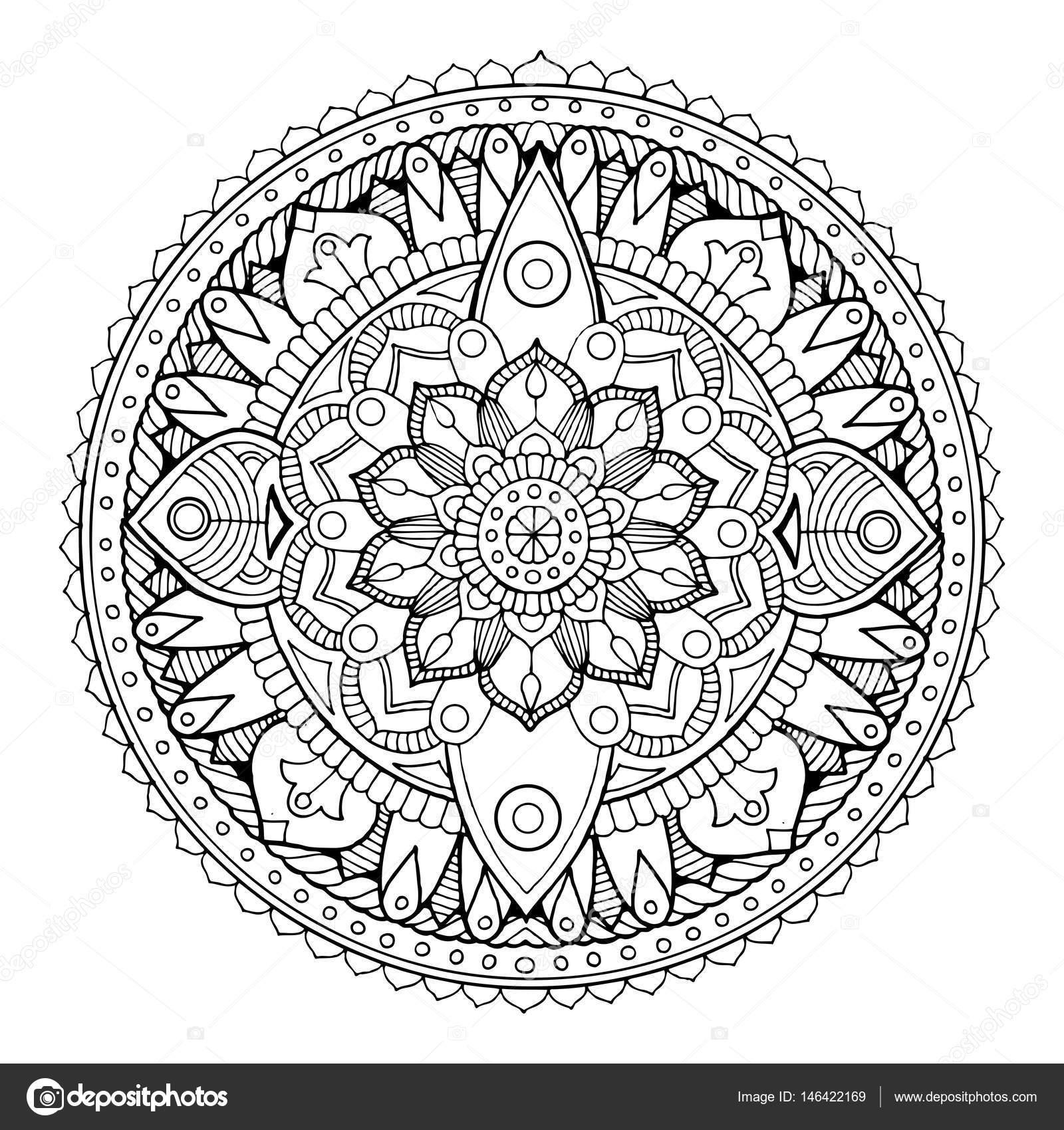 Mandala Kleurplaten Boek.Mandala Kleurplaat Boek Vectorillustratie Stockvector