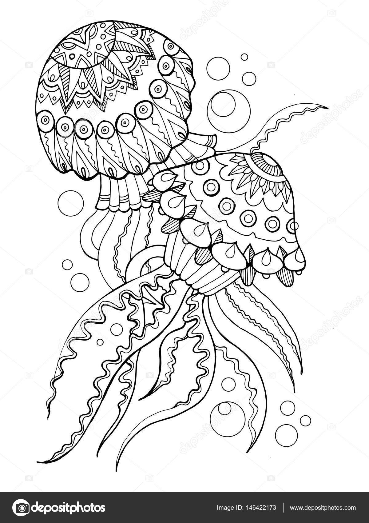 Boyama Kitabı Denizanası Illüstrasyon Vektör Stok Vektör