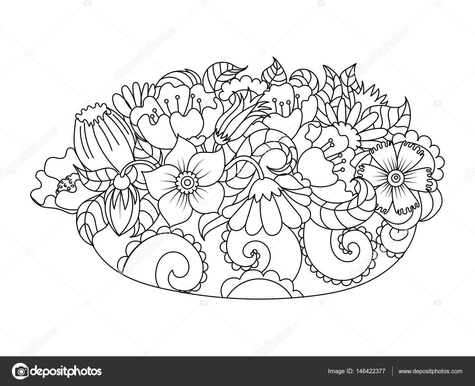 Soyut çiçek Kitap Vektör Illustration Boyama Stok Vektör